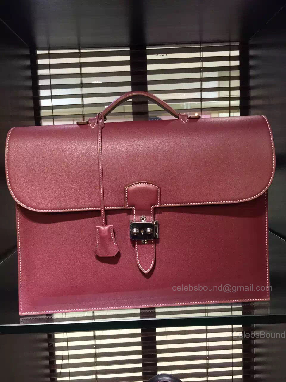 Hermes Sac a Depeche 41 Briefcase Bordeaux Swift Leather Handstitched