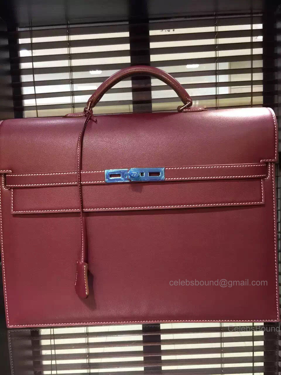 Hermes Kelly Depeche 38 Briefcase Bordeaux Swift Leather Handstitched