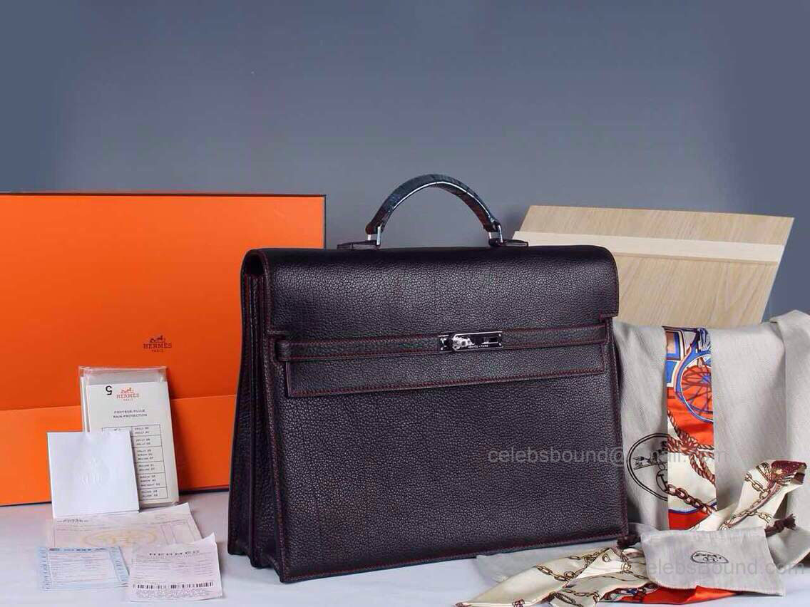 Hermes Kelly Depeche 38 Briefcase Black W Red Stitch Clemence Handstitched Silver hw