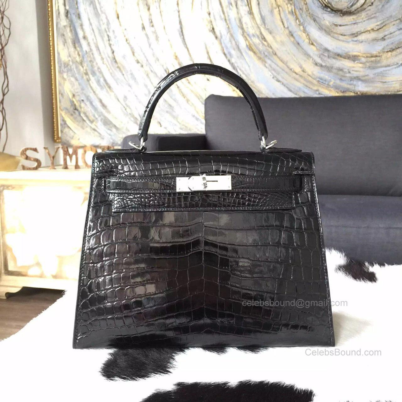 f6a8d2139e Hermes Kelly 28 Bag Bi-color Black Crocodile Leather Handstitched Silver hw