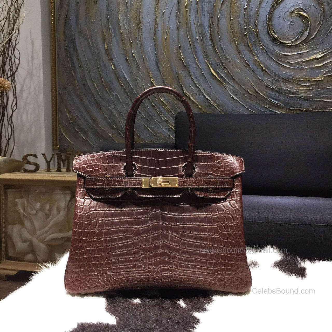 Hermes Birkin 30 Bag Chocolat Crocodile Leather Handstitched Gold hw eda6295327c90