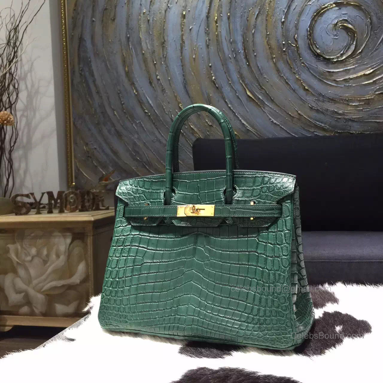 Hermes Birkin 30 Bag Vert Fonce Crocodile Leather Handstitched Gold hw 1ebd66affd2a0