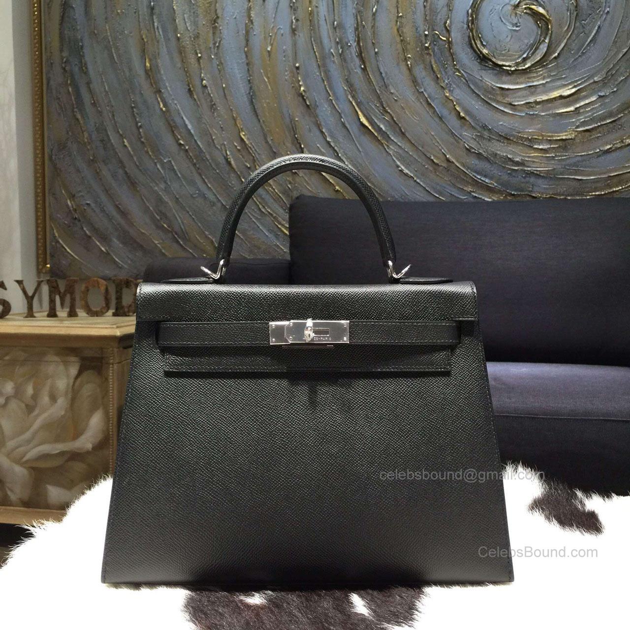 d2b31f60f8e5 Hermes Kelly 32 Bag Black Epsom Leather Handstitched Silver hw