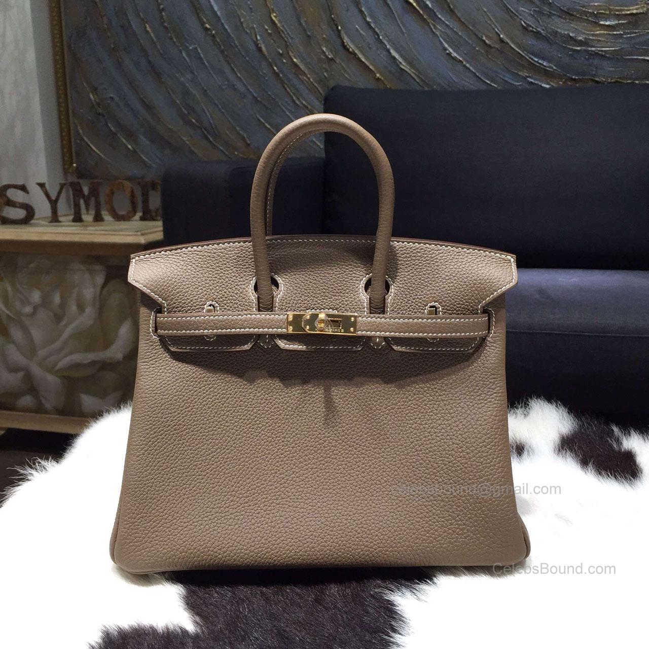bde1051a1c4f Hermes Birkin 25 Bag Etoupe Togo Leather Handstitched Gold hw -
