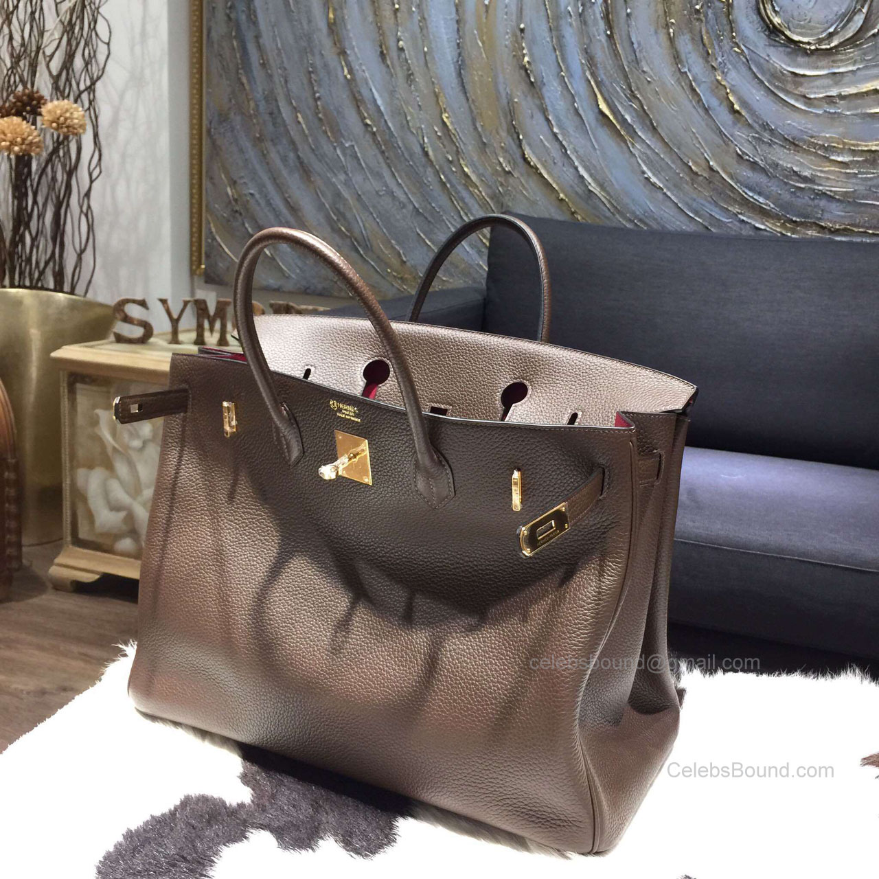 4129c0c37d Hermes Birkin 40 Bag Bi-color Chocolat Togo Leather Handstitched Gold hw