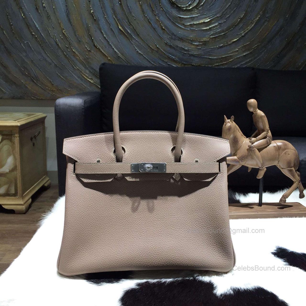 dc9b39a9ee54 Hermes Birkin 30 Bag Gris Tourterelle CK81 Togo Leather Handstitched Silver  hw