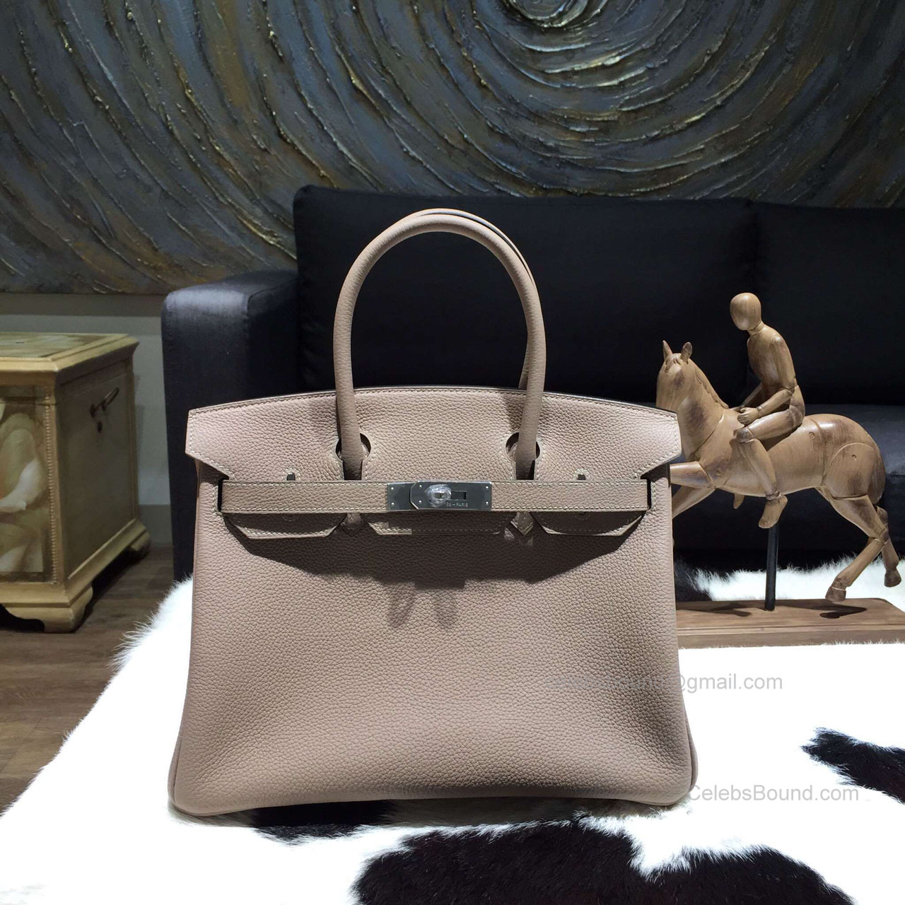 89bbb3d318ac Hermes Birkin 35 Bag Gris Tourterelle CK81 Togo Leather Handstitched Silver  hw