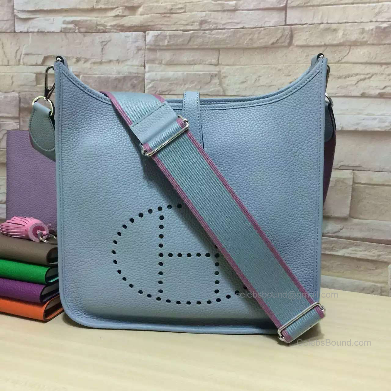 Hermes Evelyne III Bag PM in Ice Blue Togo Leather
