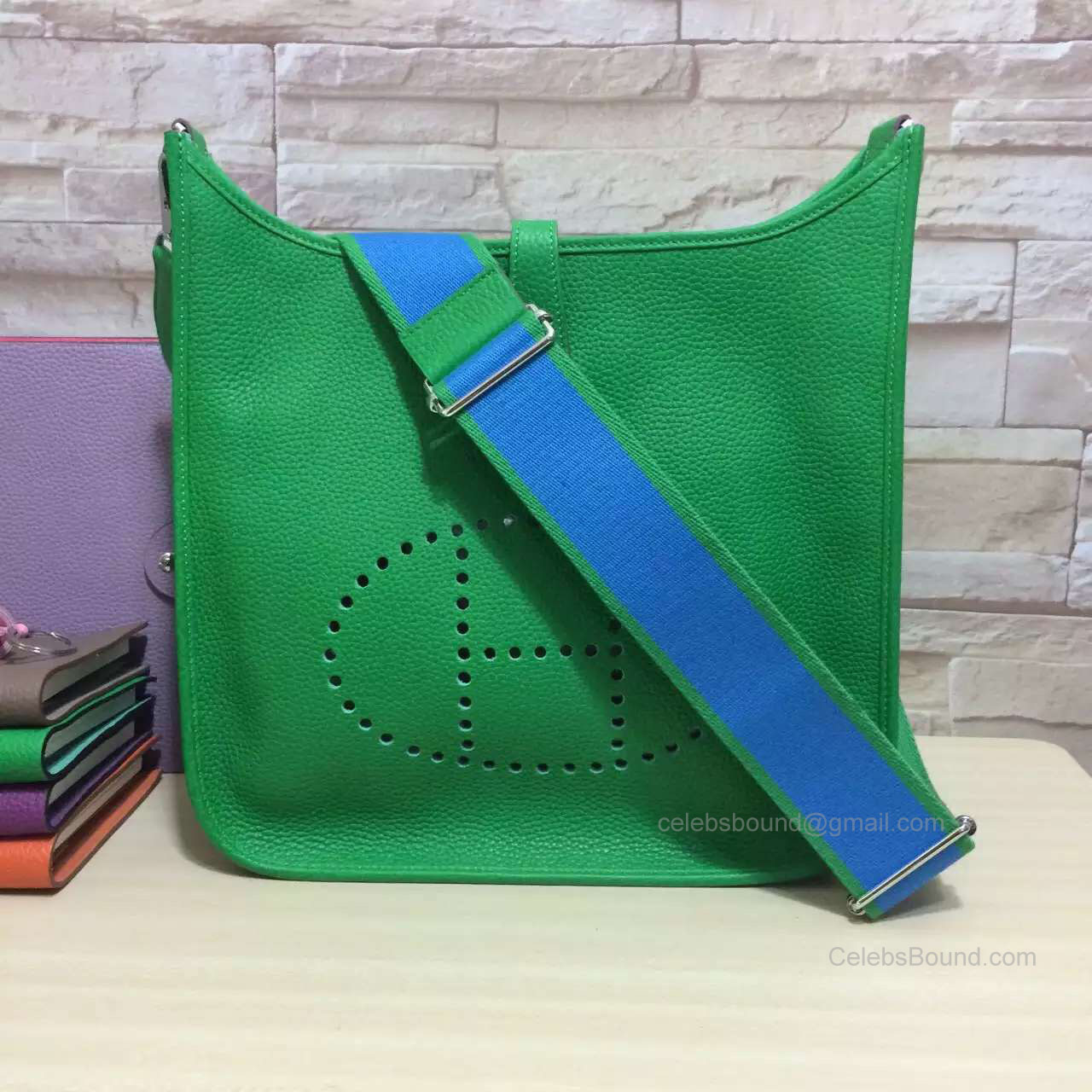 Hermes Evelyne III Bag PM in Green Togo Leather