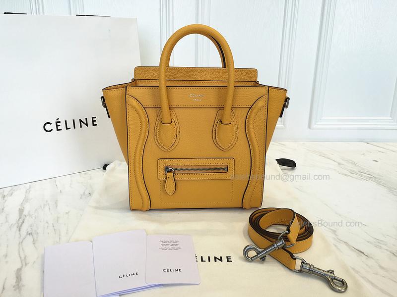 94dfbc0a0e Ultimate Replica Celine Luggage Nano Bag in Yellow Grained Calfskin