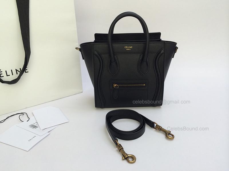 Celine 7 Star Replica Luggage Nano Bag in Calfskin Black - eaf1a171c1da2