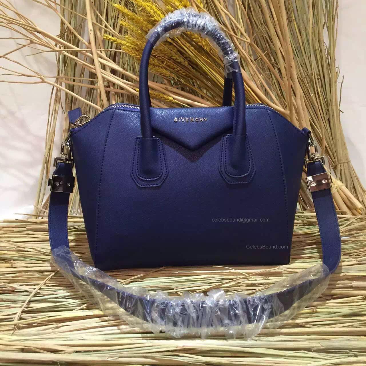 e59a1eea41b9 Givenchy Small Antigona Bag in Deep Blue Goatskin 285173M