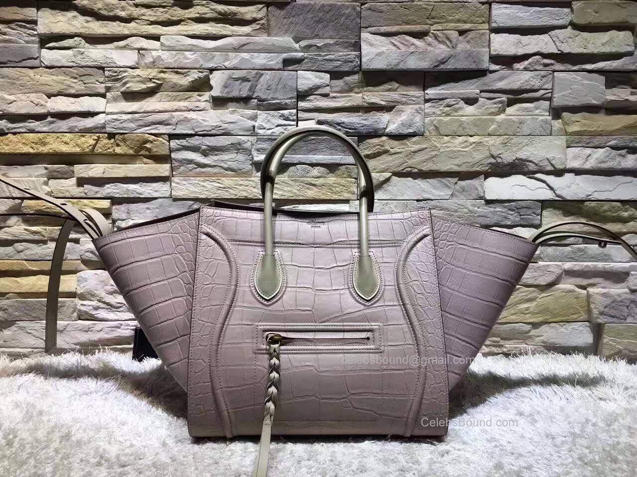 0bd0189ef426 Replica Celine Medium Luggage Phantom Tote Bag in Multicolor Grey Crocodile  Calfskin