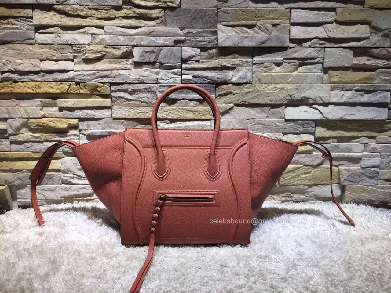 7e8ecc9c3507e Replica Celine Medium Luggage Phantom Bag in Light Red Baby Grained Calfskin