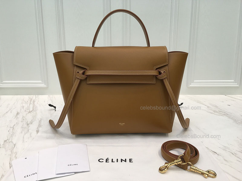 bbcdbedd7ba10 Ultimate Celine Mini Belt Handbag with Double White Stitching in Blonde  Calfskin