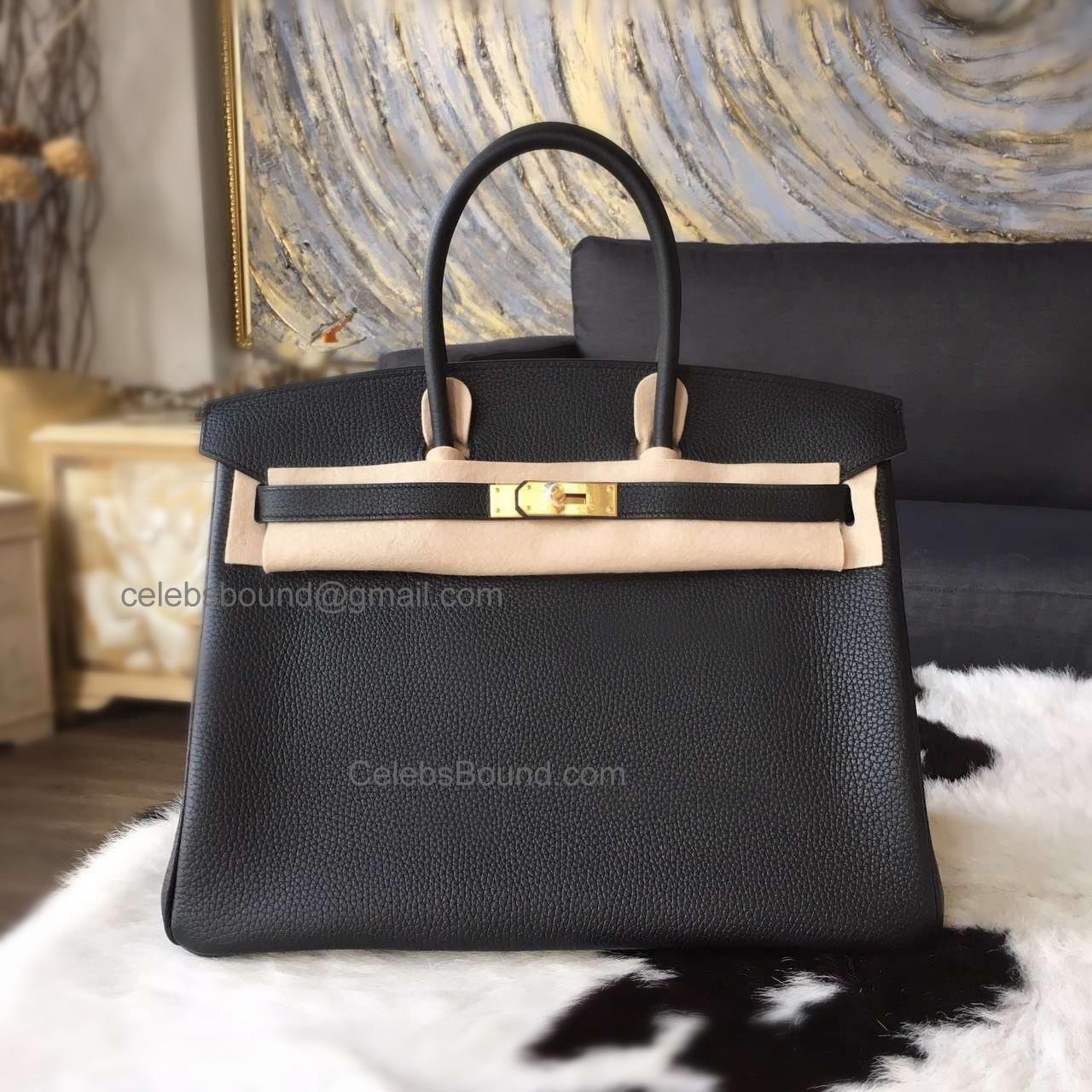 c9b722f9bf017 Hand Stitched Hermes Birkin 35 Bag in ck89 Noir Togo Calfskin GHW -