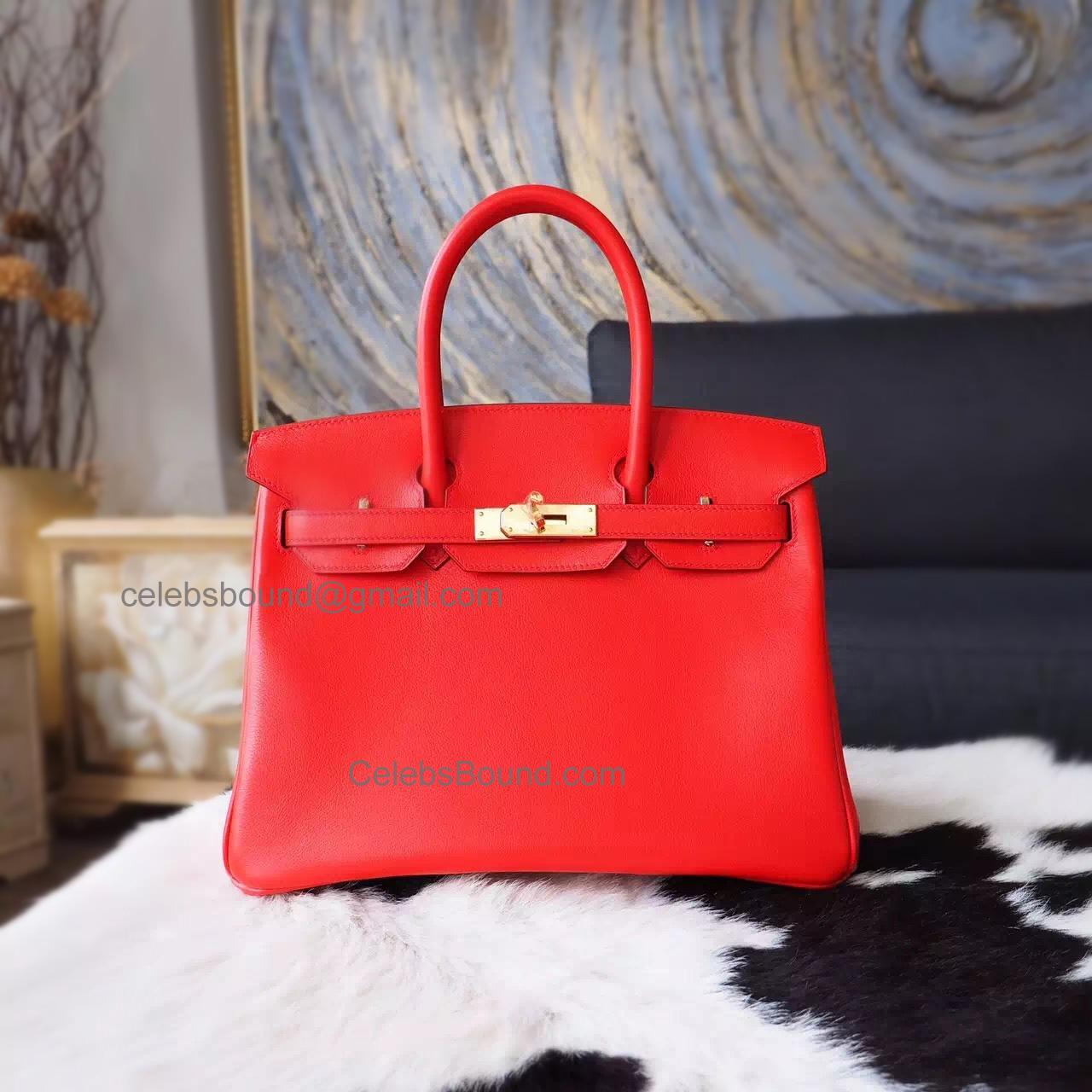 30816df37d Hand Stitched Hermes Birkin 30 Bag in q5 Rouge Casaque Swift Calfskin GHW