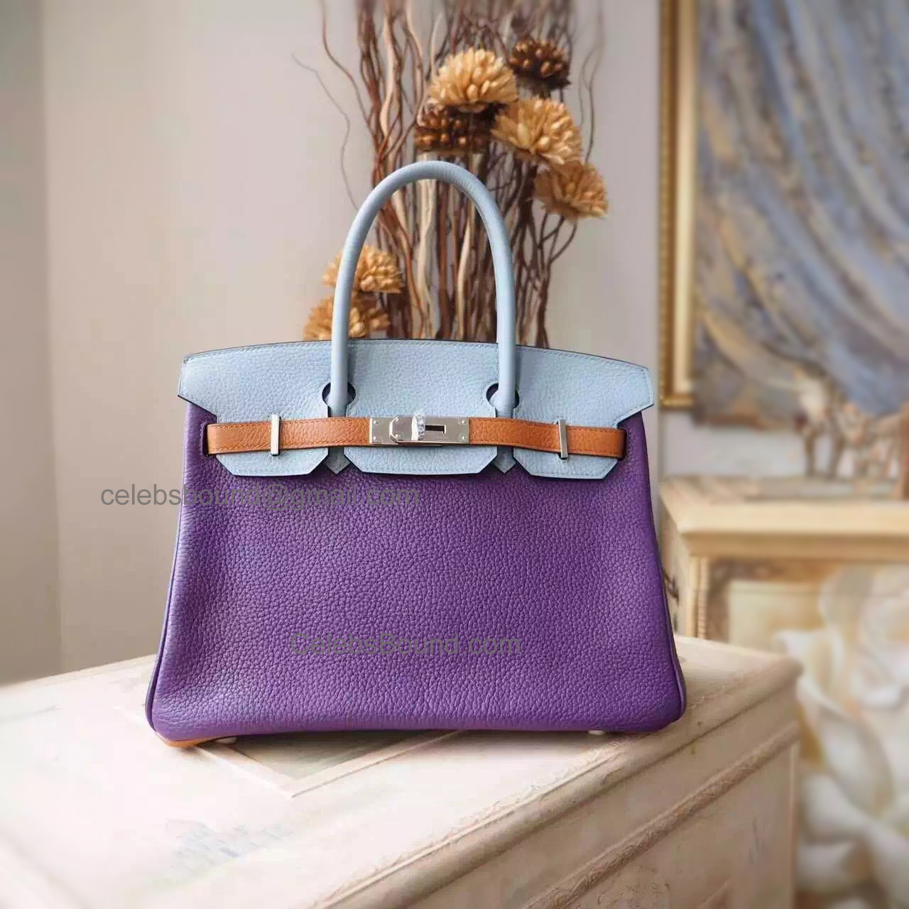 Hand Stitched Hermes Birkin 30 Bag in Multicolored p9 Anemone Togo Calfskin SHW