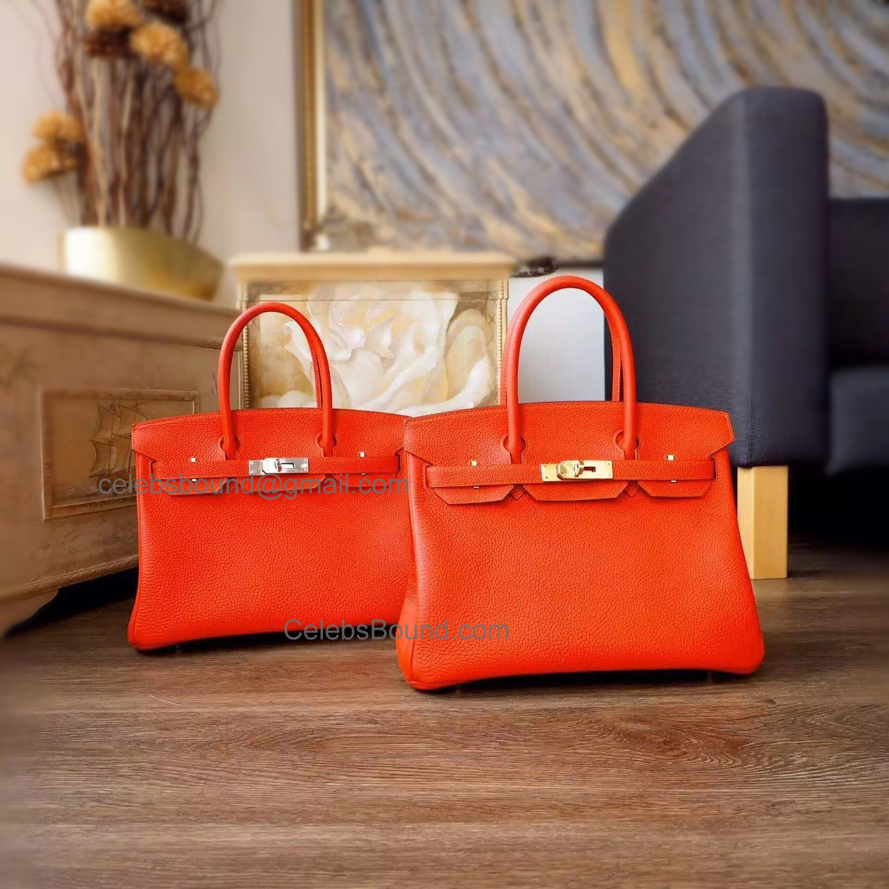 Hand Stitched Hermes Birkin 30 Bag in 8v Orange Poppy Togo Calfskin