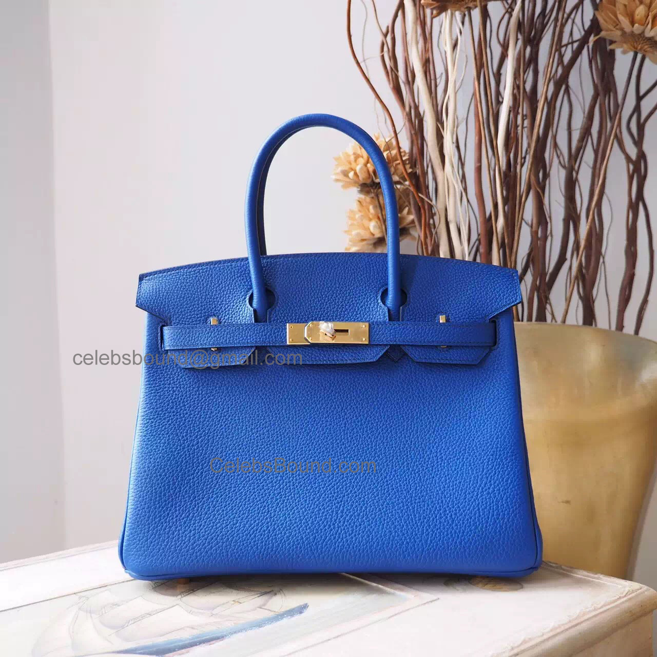 Hand Stitched Hermes Birkin 30 Bag in 7t Blue Electric Togo Calfskin GHW