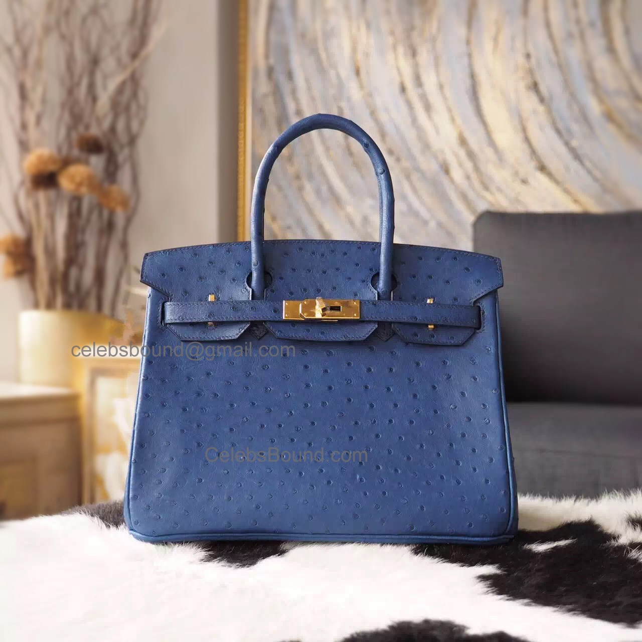 9af191b8718d Hand Stitched Hermes Birkin 30 Bag in 7L Blue Malte Ostrich GHW