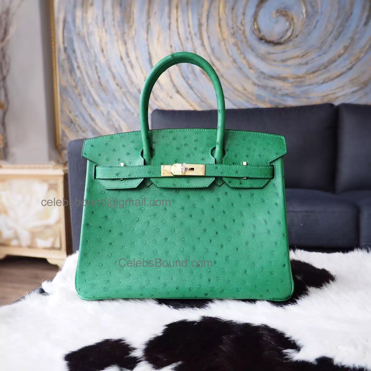 246db8e65040 Hand Stitched Hermes Birkin 30 Bag in 6g Pelouse Ostrich GHW