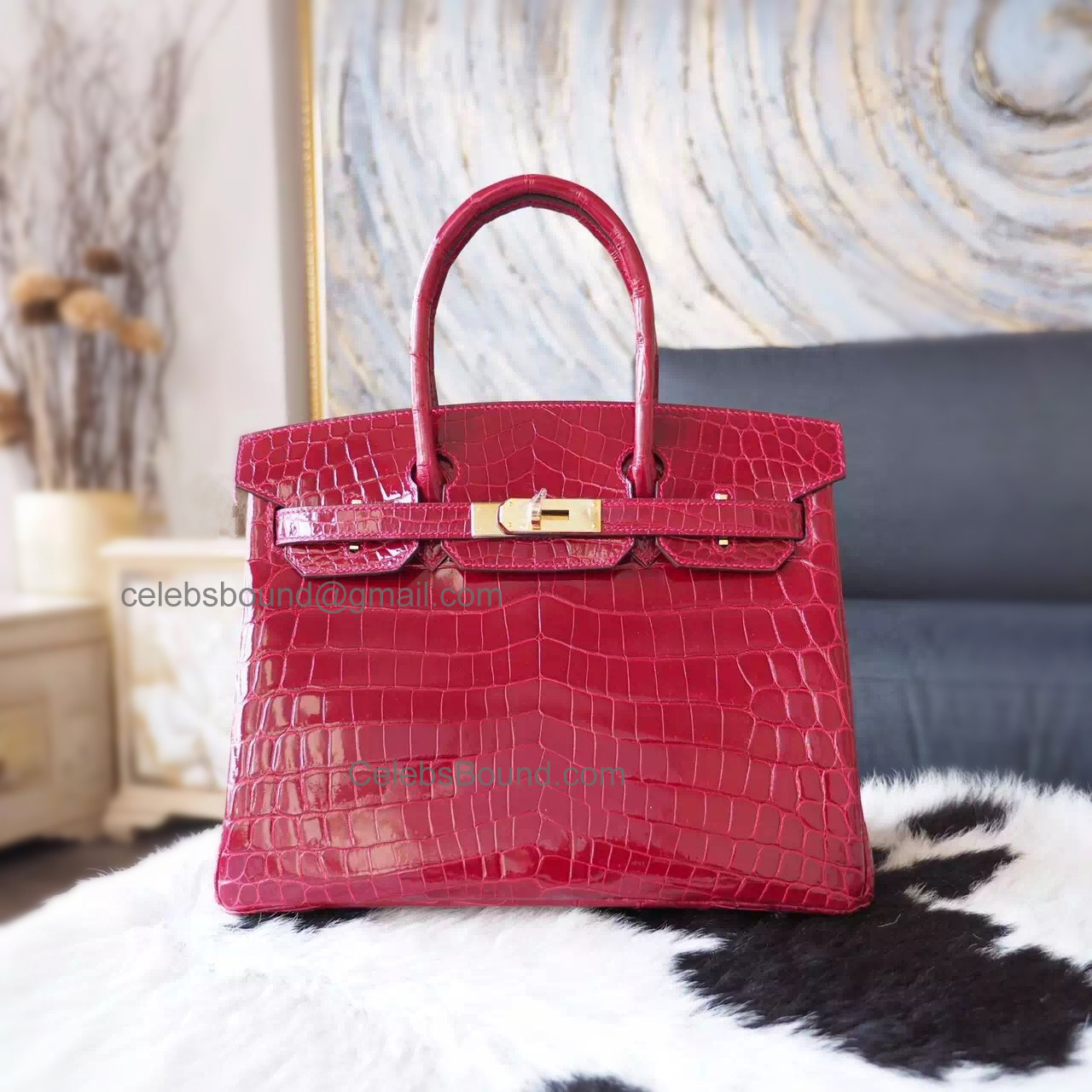1bad731dc184 Hand Stitched Hermes Birkin 30 Bag in ck55 Rouge H Shining Niloticus Croc  GHW