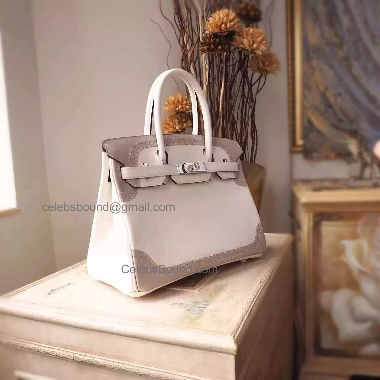 Hand Stitched Hermes Birkin 30 Ghillies Bag in Bicolored cc01 Blanc Calfskin SHW