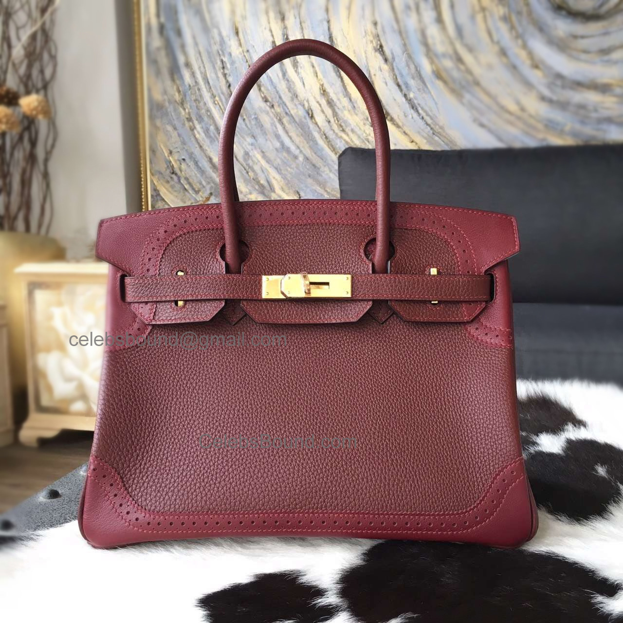 Hand Stitched Hermes Birkin 30 Ghillies Bag in ck55 Rouge H Calfskin GHW
