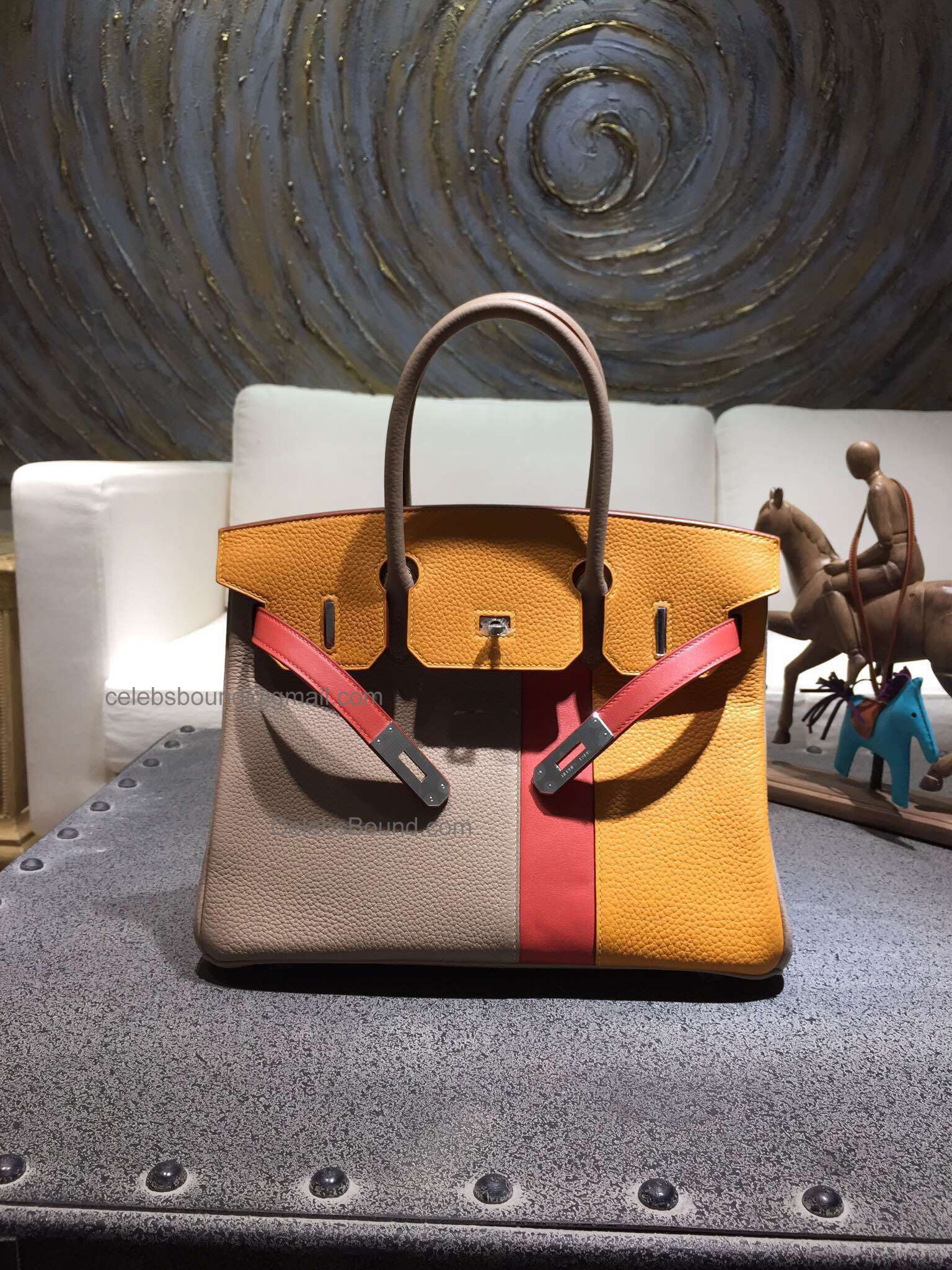 Handstitched Hermes Birkin 30 Bag in Multicolored ck81 Gris Tourerelle Calfskin SHW