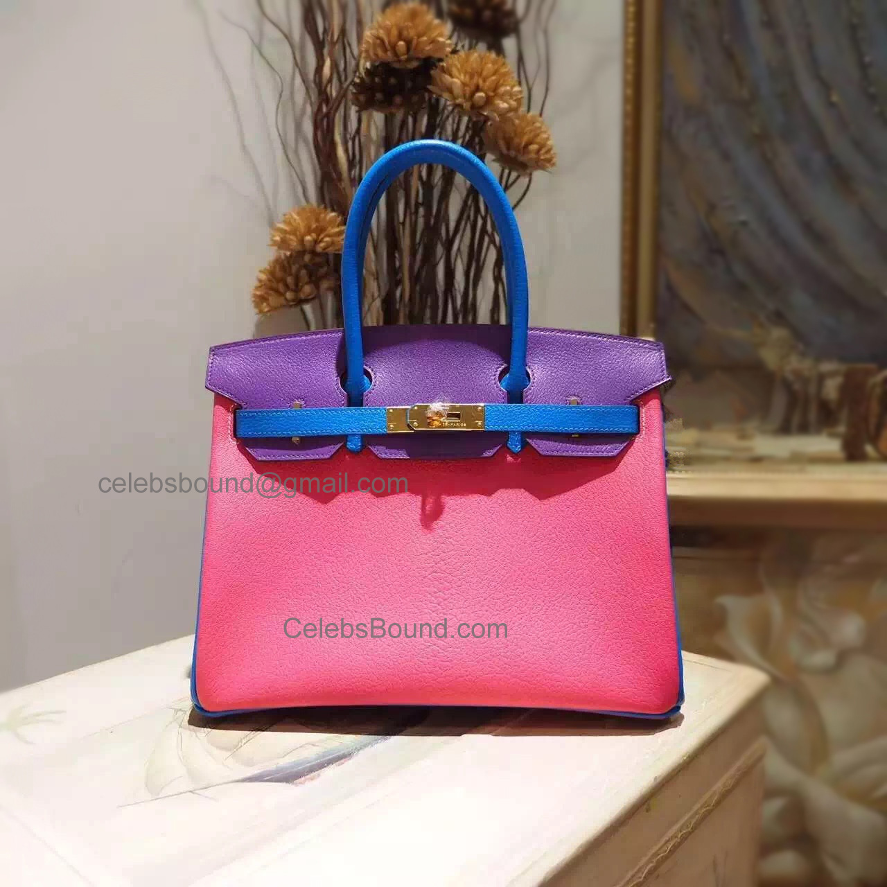 Handstitched Hermes Birkin 30 Bag in Multicolored 8w Rose Azalee Chevere Myzore Goatskin GHW