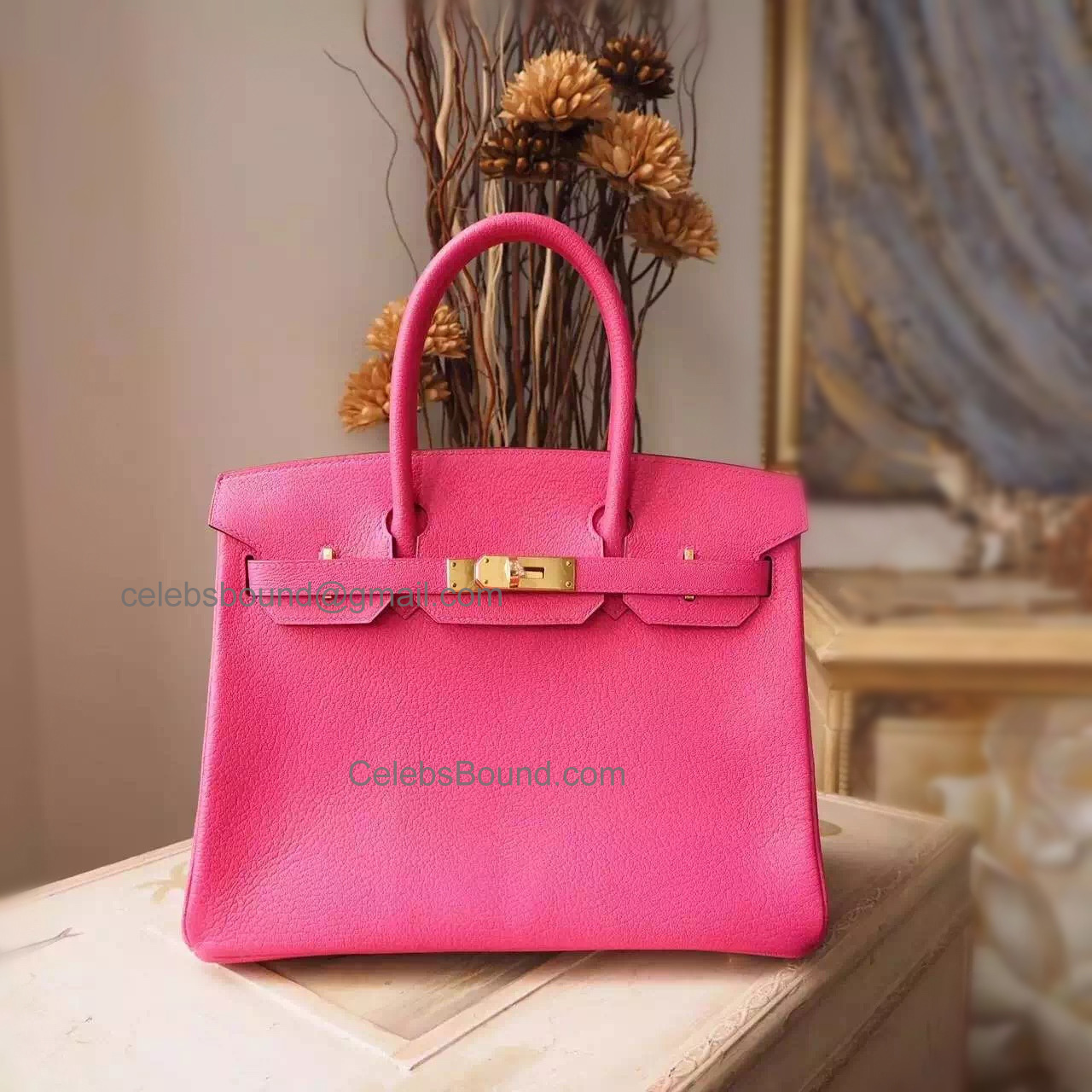 Handstitched Hermes Birkin 30 Bag in 5r Rose Shocking Chevere Myzore Goatskin GHW