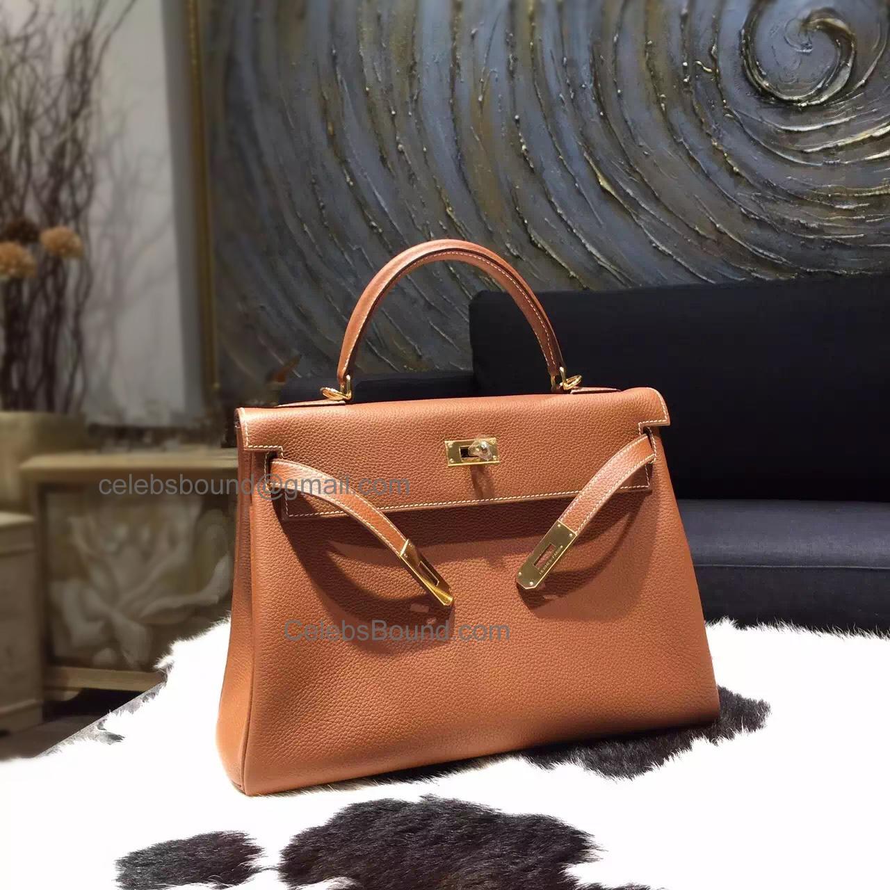 787969580e8fa Replica Hermes Kelly 28 Handmade Bag in ck37 Gold Togo Calfskin GHW -