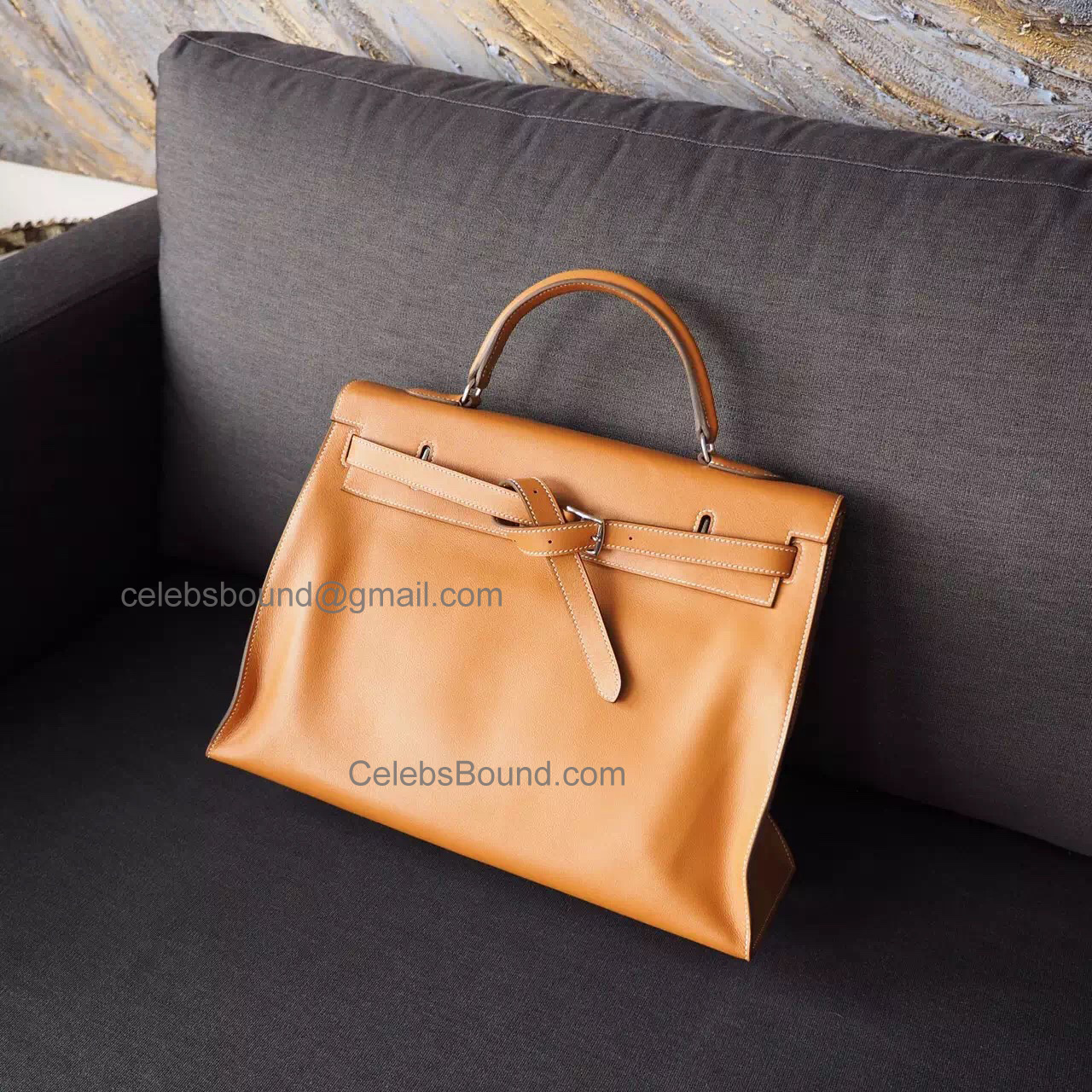 Hand Stitched Hermes Kelly Flat 35 Copy Bag in ck35 Gold Swift Calfskin PHW