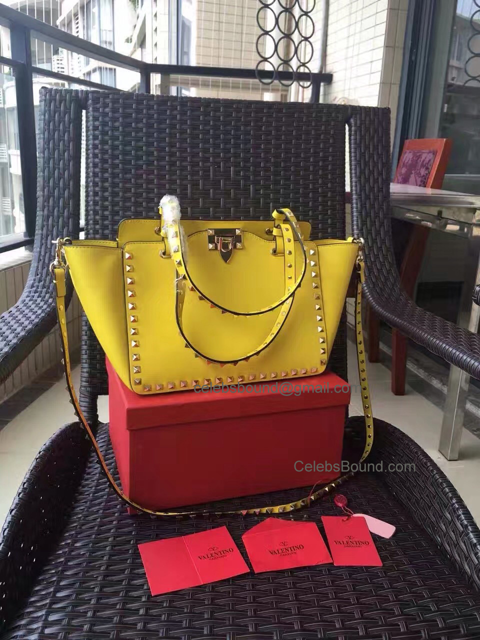 Replica Valentino Gold Rockstud Small Tote in Yellow Smooth Calfskin