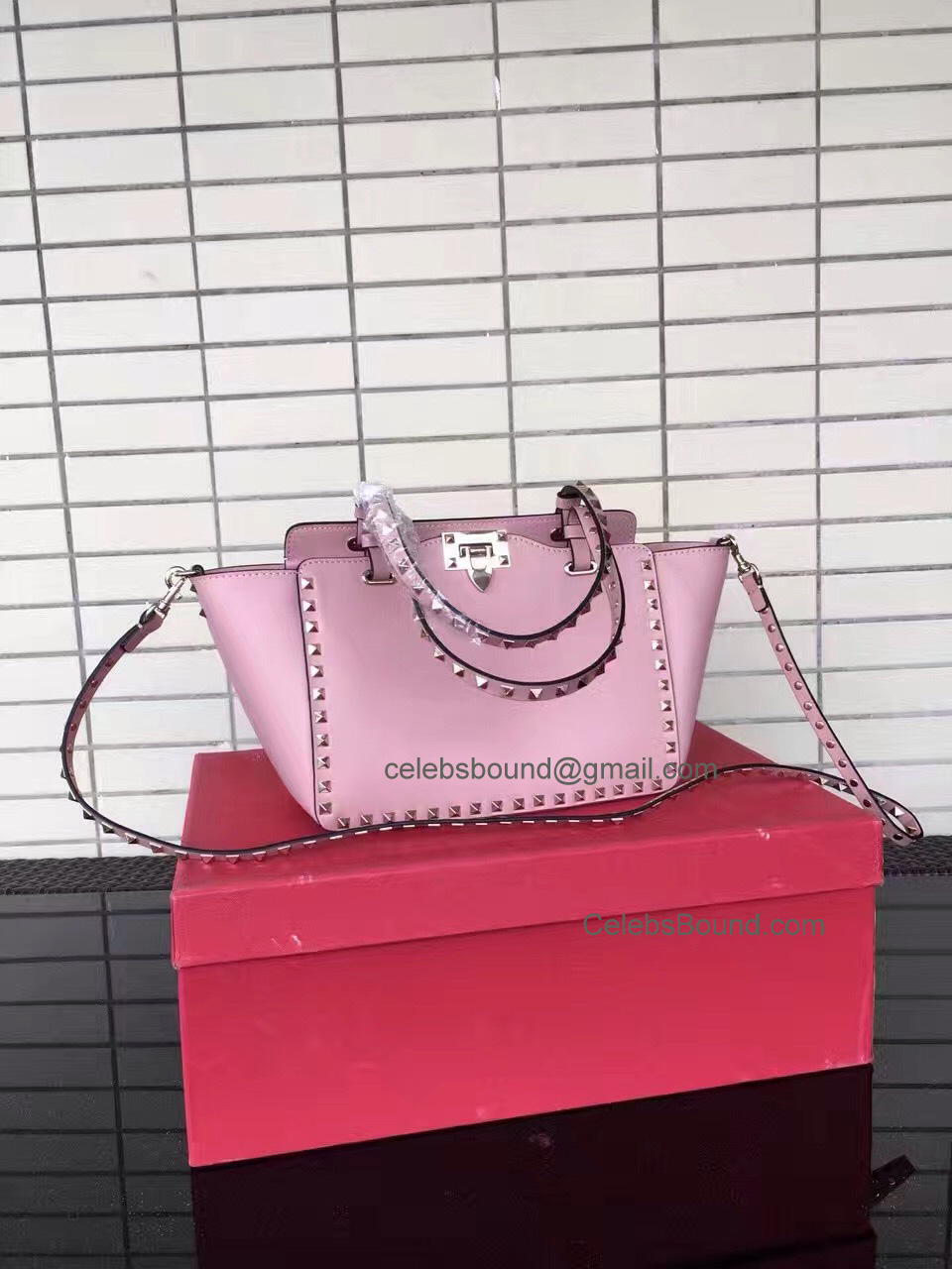 Replica Valentino Gold Rockstud Small Tote in Light Pink Smooth Calfskin