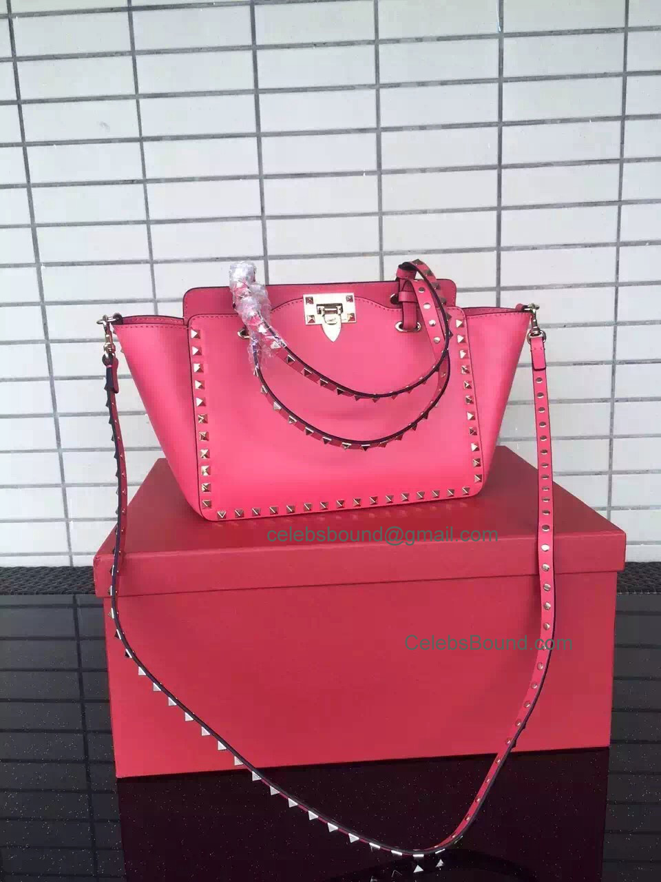 Replica Valentino Gold Rockstud Small Tote in Rose Pink Smooth Calfskin