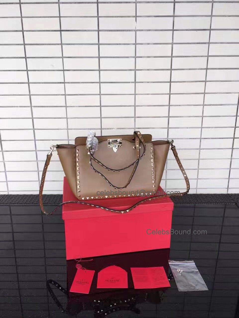 Replica Valentino Gold Rockstud Small Tote in Brown Smooth Calfskin
