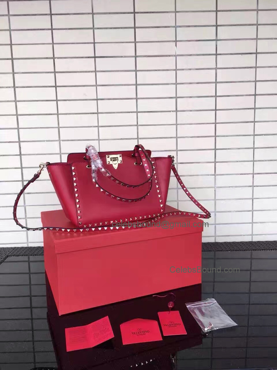 Replica Valentino Gold Rockstud Small Tote in Hot Red Smooth Calfskin