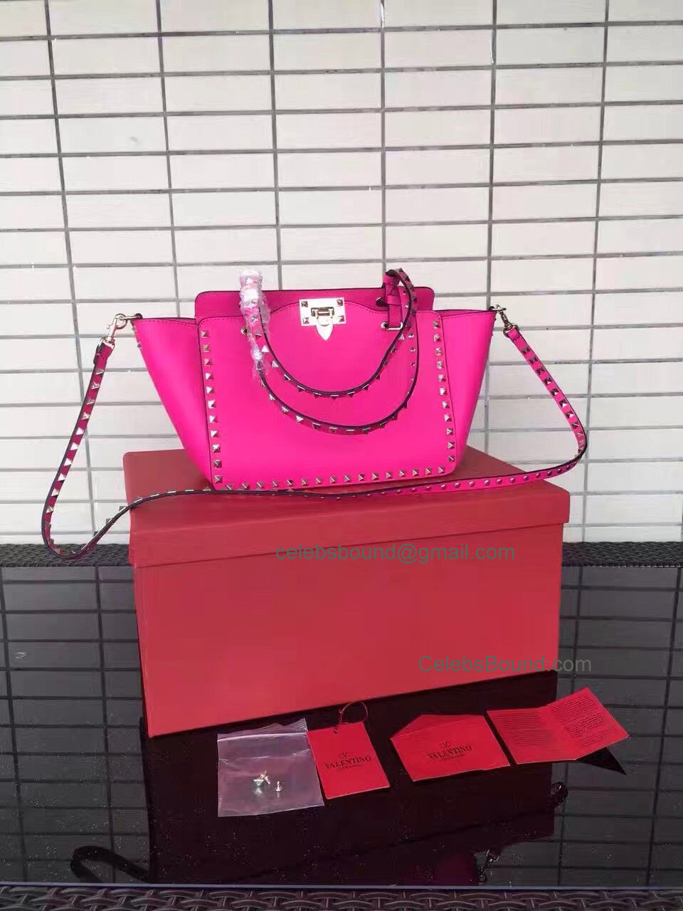 Replica Valentino Gold Rockstud Small Tote in Hot Pink Smooth Calfskin