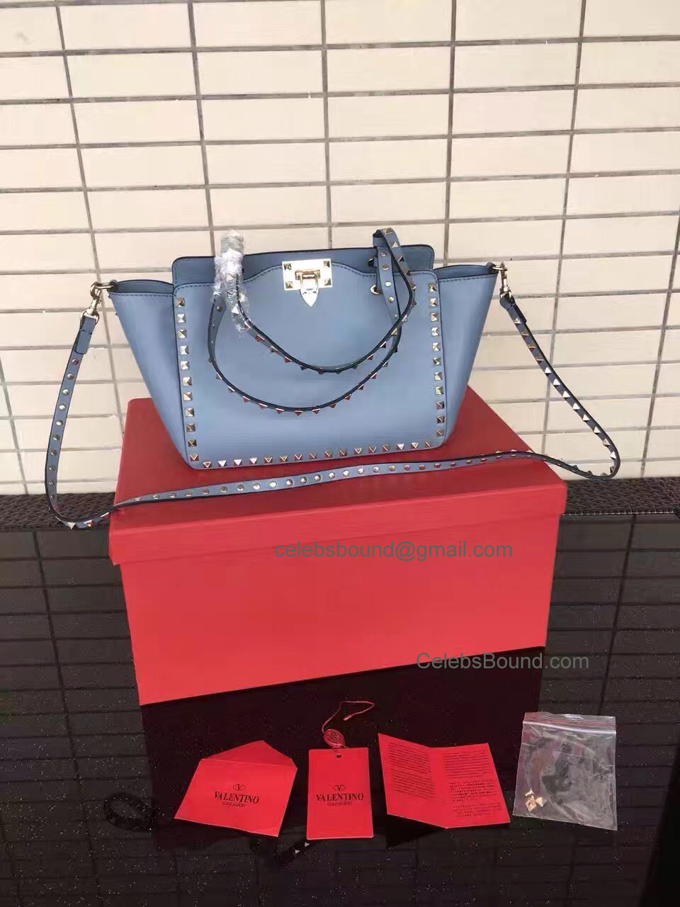 Replica Valentino Gold Rockstud Small Tote in Ice Blue Smooth Calfskin