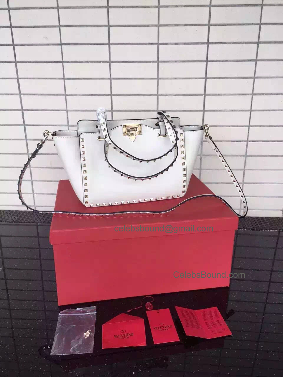 Replica Valentino Gold Rockstud Small Tote in Ivory Smooth Calfskin