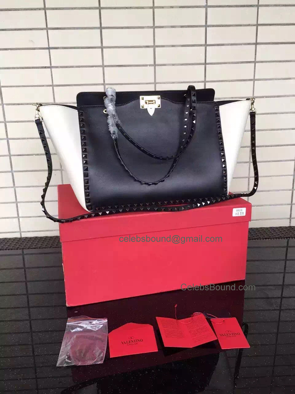 Replica Valentino Rockstud Multicolored Black Medium Tote in Smooth Calfskin