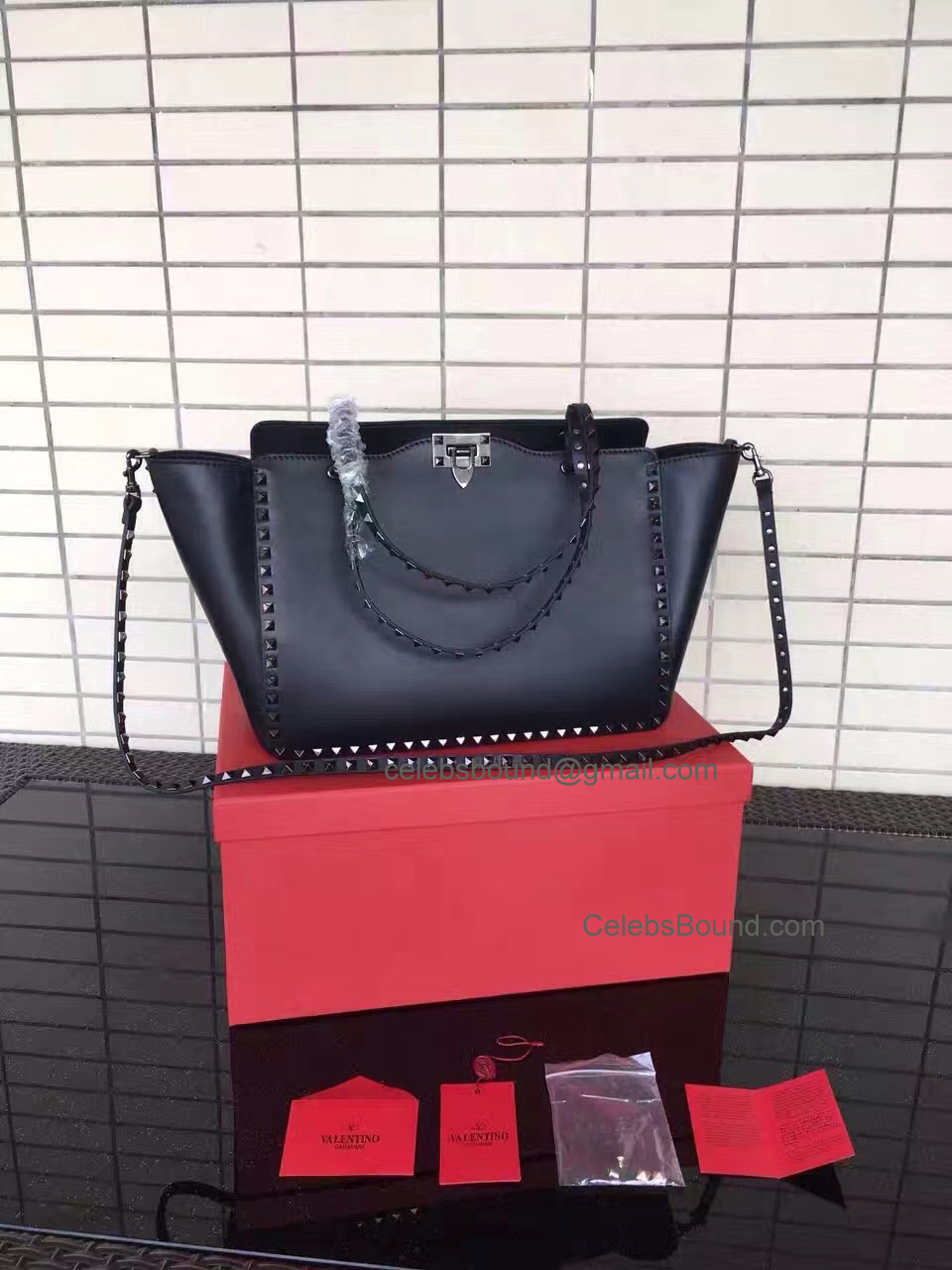 Replica Valentino Rockstud Noir Medium Tote in Smooth Calfskin