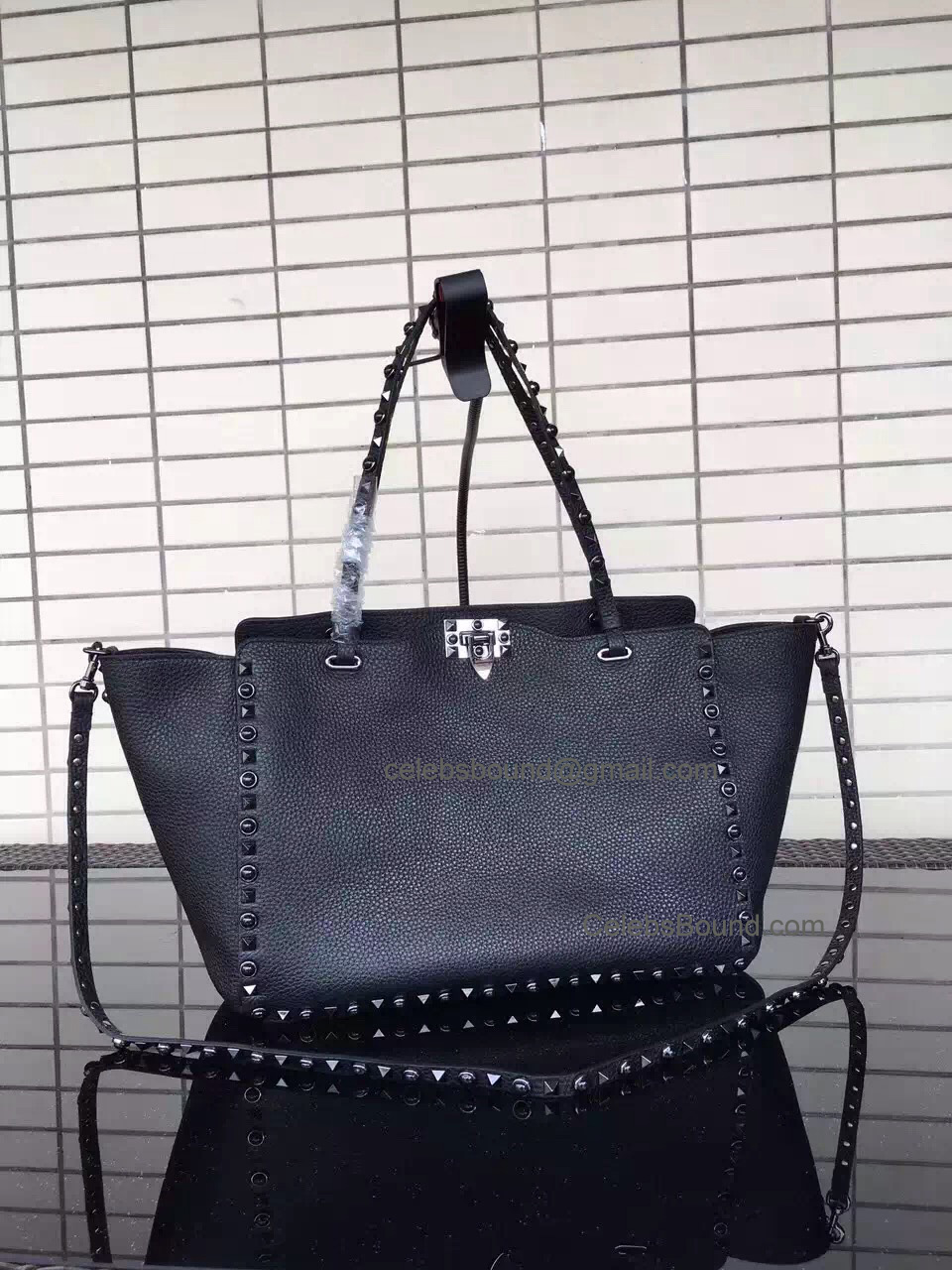 Replica Valentino Rockstud Rolling Noir Medium Tote with Black Stones