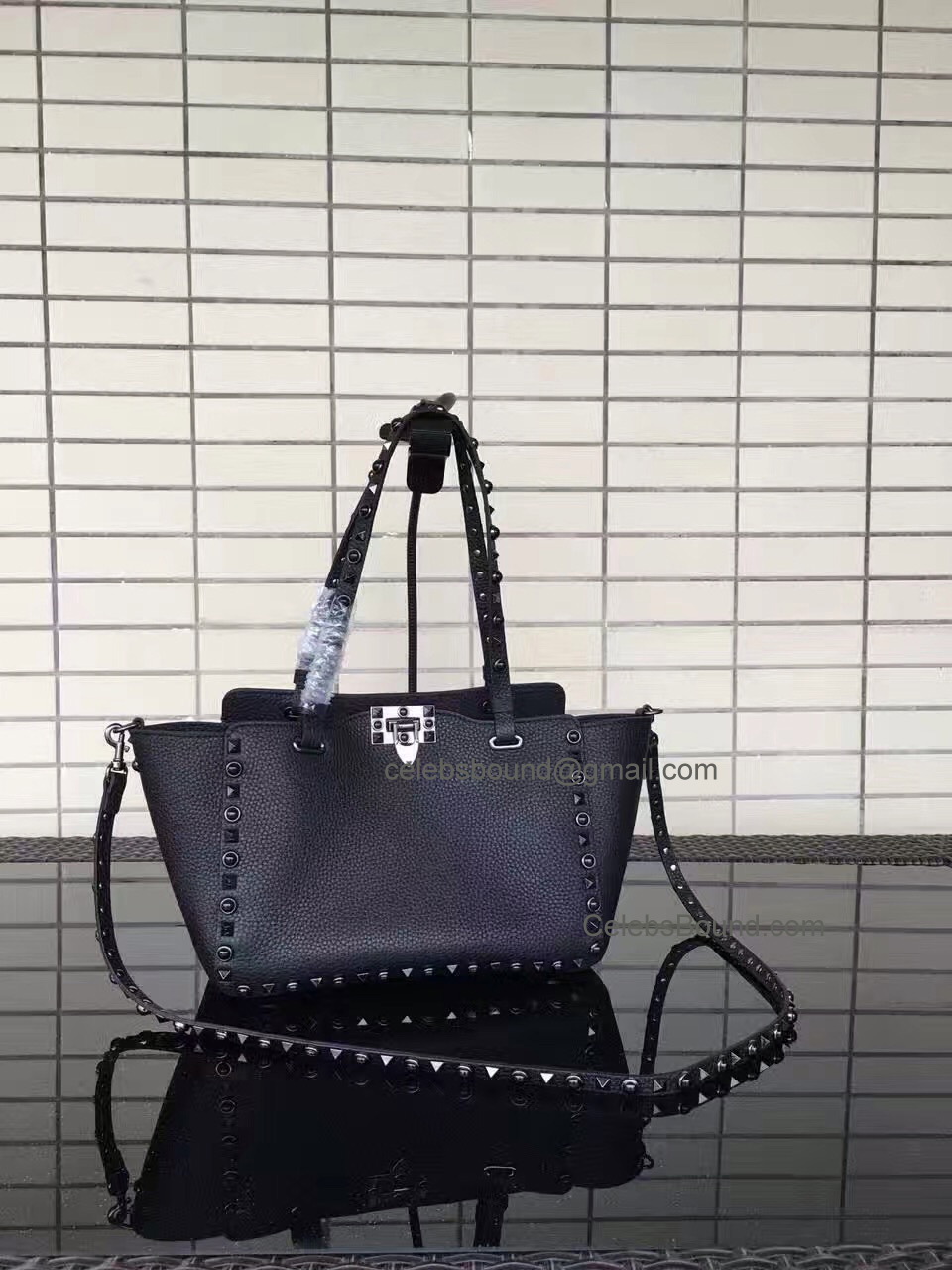 Replica Valentino Rockstud Rolling Noir Small Tote with Black Stones