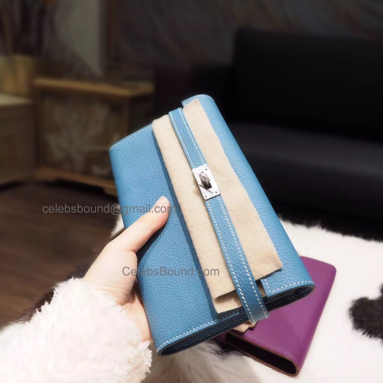 36297cf9a5 Hermes Kelly Long Wallet Handmade in ck75 Blue Jean Togo Calfskin PHW