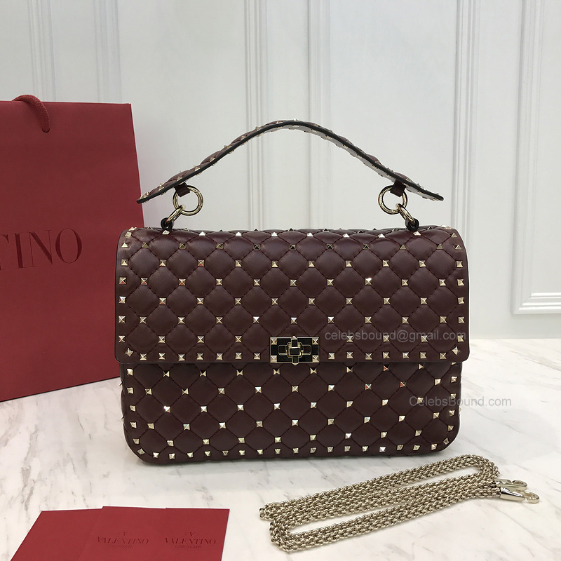 Valentino Rockstud Spike Medium Chain Bag in Burgundy Lambskin