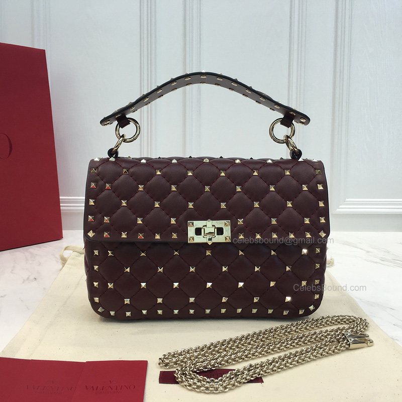 Valentino Rockstud Spike Small Chain Bag in Burgundy Lambskin
