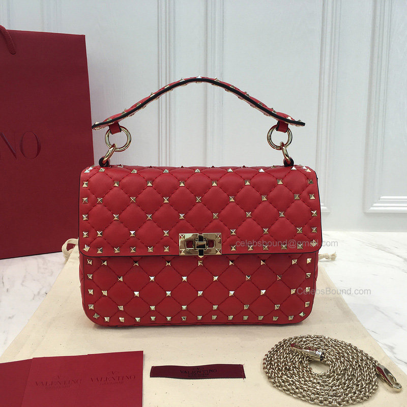 Valentino Rockstud Spike Small Chain Bag in Red Lambskin